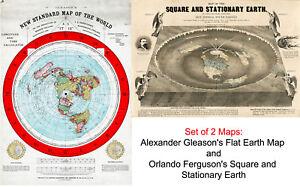 2 Flat Earth Maps: Ferguson's Square Stationary Earth AND Gleason's Standard Map