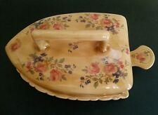 Iron Shape Jewelry Box Beautiful Colors w Roses Flowers Ceramic ~ Vintage Style