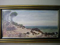 Vintage framed landscape painting, signed