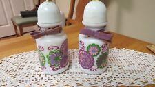 Pair of Old Avon Bottles Lilac  Foaming Bath Oil Salt Spice Shaker Milk Glass