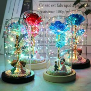 Galaxy Rose Led Enchanted Glass Light Flower Fairy Dome girl wife Valentine Gift