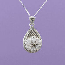 """925 Sterling SIlver Marcasite and CZ Locket 18""""/20"""" Pendant A822"""