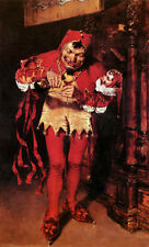 Oil painting William Merritt Chase - Keying Up - the Court Jester drinking