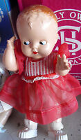 "Vintage 1950s Ideal Hard Plastic Molded Hair Baby Girl Doll 11"" Tall"