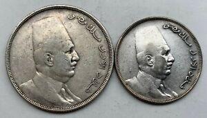 EGYPT SILVER 20 PIASTRES  & 10 PIASTRES 1923 H- KING FUAD I