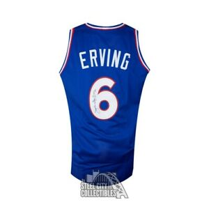 Julius Erving Autographed 76ers Custom Blue Basketball Jersey - JSA COA