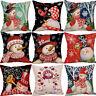 Christmas Snowman Home Decor Cotton Linen Pillow Case Square Throw Cushion Cover