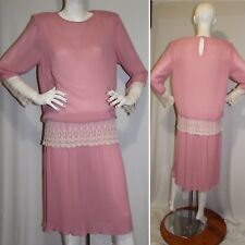Monica Richards Sheath Pleated Dress Pink with Aplique Size 14