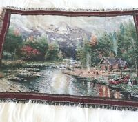 Thomas Kinkade Tapestry Throw Blanket End of a Perfect Day II Cabin Canoe Cotton
