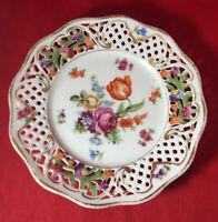Dresden Schumann Bavaria Lion Crown Floral w Gilt Reticulated Dessert Plate 1926