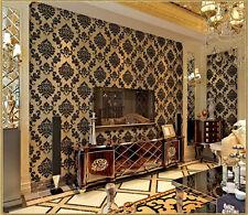 Modern Vintage Classic Velvet Damask Flocking wallpaper Mural Decor Black 10M