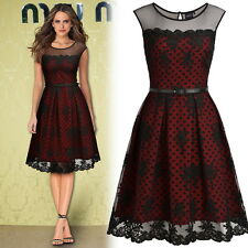 Womens Vintage Lace Sleeveless Cocktail Evening Party Business Sexy Skater Dress