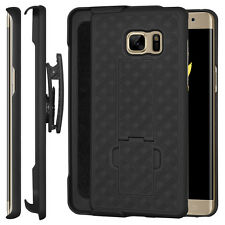 Amzer Black Shell Case Holster W/ Kickstand for Galaxy Note7 FE Note Fan Edition