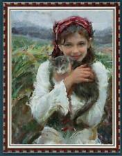 """Hand-painted Oil painting art Original Impressionism girl cat on Canvas 24""""x36"""""""