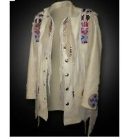 Men Native American Western Suede Leather Fringe Jacket beads