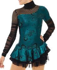 Ice Figure Skating Competition Dress Cabaret Mondor Black Turquoise Adult Small