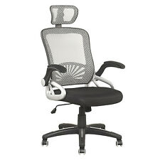 Mesh High Back Extra Padded Grey Swivel Office Chair With Head Support & Arms