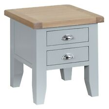 Hartwell Grey Lamp Table / Painted 1 Drawer Side Unit / Lime Washed Oak Top