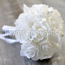 Wedding Crystal Bouquet Bride White Artificial Roses With Ribbon Brooch Craft