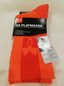 New Under Armour Men's Playmaker Beta Red/Electric Blue Crew Socks, Size 8-12,