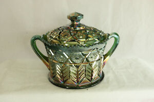 CAMBRIDGE GLASS GREEN CARNIVAL # 2651 INVERTED FEATHER CRACKER JAR & LID