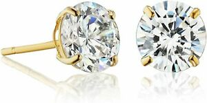 14k Solid Gold Solitaire Round Stud Earrings Made with Swarovski CZ