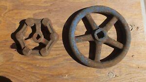 """Vint 6.5 & 4.25""""valve faucet handles Steampunk Art iron 5 spoke wheel gear craft"""