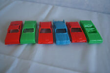 Lot of 6 Lido plastic cereal premium cars convertible sedan 1960's