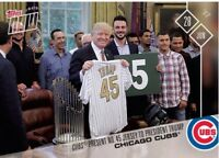 2017 TOPPS NOW #308 CHICAGO CUBS PRESENT NO 45 JERSEY TO PRESIDENT DONALD TRUMP