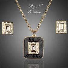 18K Gold Plated Made With Swarovski Crystal Earrings & Necklace Set (S401-25)