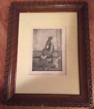 "Vintage Black Americana ""A Painful Kindness"" Print In Hand Carved Wood Frame"