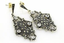 UNIQUE ARTISAN DESIGN WT TOPAZ MARCASITE 925 STERLING SILVER EARRINGS USA SELLER