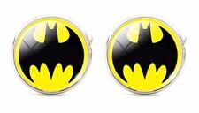 925 Silver Plated Batman Pattern Cufflinks Bat Man cuff links RND Yellow Hero