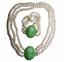 3-reihiges Süßwasser Perlen Collier mit Armband