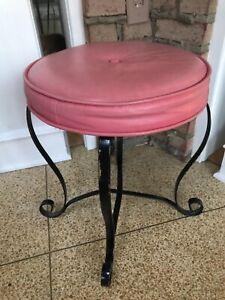 "Vtg 70's Pink Vanity Stool Naugahyde Cushioned Seat Black Ornate Metal 18"" x 14"""
