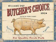 Butcher's Choice pig advertising sign 20x30cm cuts of meat metal wall plaque