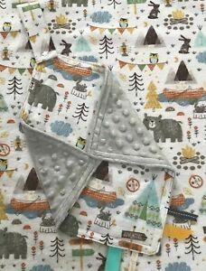 Woodland Bear Baby Security Blanket Lovey Arrow Minky Outdoors Modern Snap Taggy