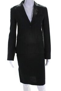 Theory Womens Wool Notched Collar Blazer Pencil Skirt Suit Black Size 0