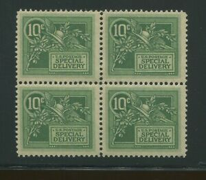 1908 United States Special Delivery Stamp #E7 Mint Hinged OG VF Block of 4