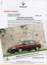 Renault Laguna Executive 3.0 V6 24V Launch Press Release/Photographs - 1997