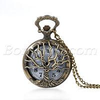 Antique Retro Tree Of Life  Quartz Pocket Watch Pendant Necklace Sweater Chain