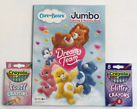 3pc Set Care Bears Dream Team Jumbo Coloring Activity Book Glitter Pearl Crayons