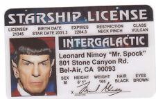 Leonard Nimoy Mister Mr Spock of STAR TREK  plastic ID card Drivers License -