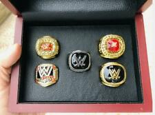 5pcs Wrestling Entertainment Hall Of Fame Team ring Set With Wooden Box Souvenir