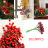 100pcs Artificial Red Holly Berry On Wire Bundle Garland Wreath Making Christmas