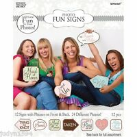 12 BRIDAL SHOWER GAME FUN SIGNS PARTY PHOTO BOOTH PROPS HENS NIGHT WEDDING