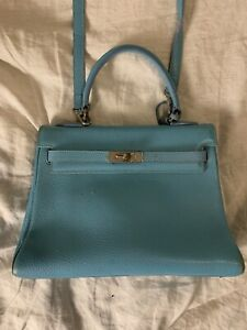 100% Authentic Hermès Hermes Kelly 32 Turquoise. Handbag