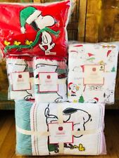 Pottery Barn Kids Peanuts Holiday Quilt Queen Sheet Set Shams Snoopy Christmas