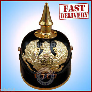 German Leather Helmet Pickelhaube Prussian Geniune Leather Helmet wwi wwii helm