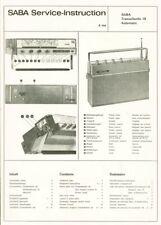 Saba Transatlantic Automatic 18 Kofferradio Schaltplan service Original manual